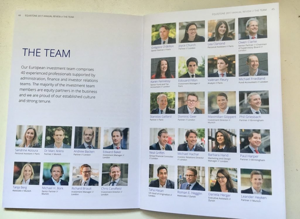 Portraits of team members in review document