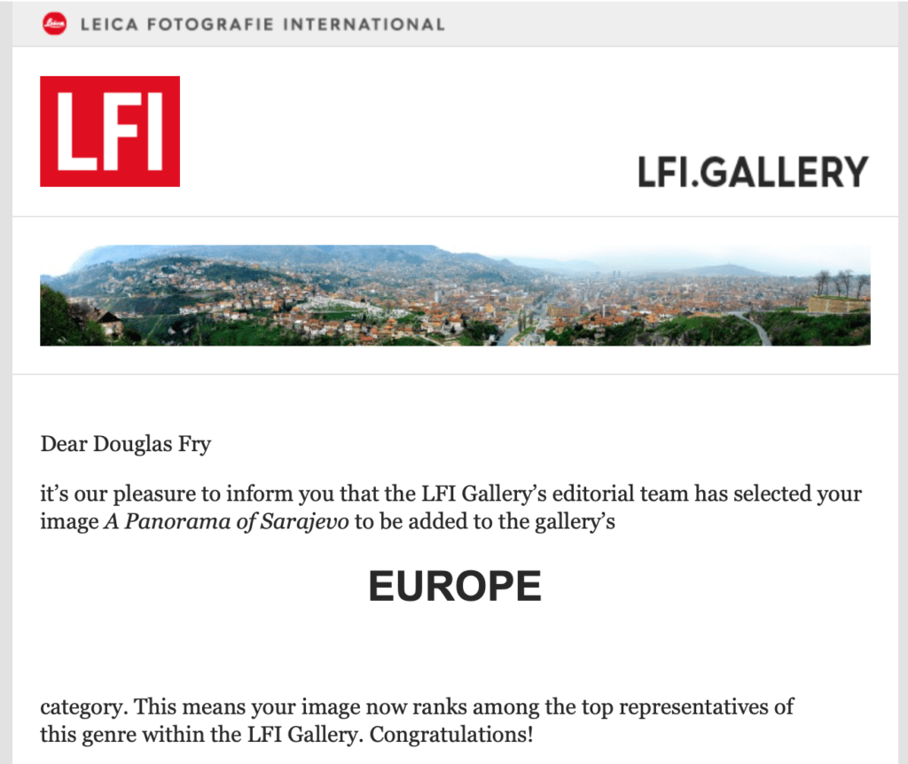 Photograph featured on Europe Section of Leica's webiste