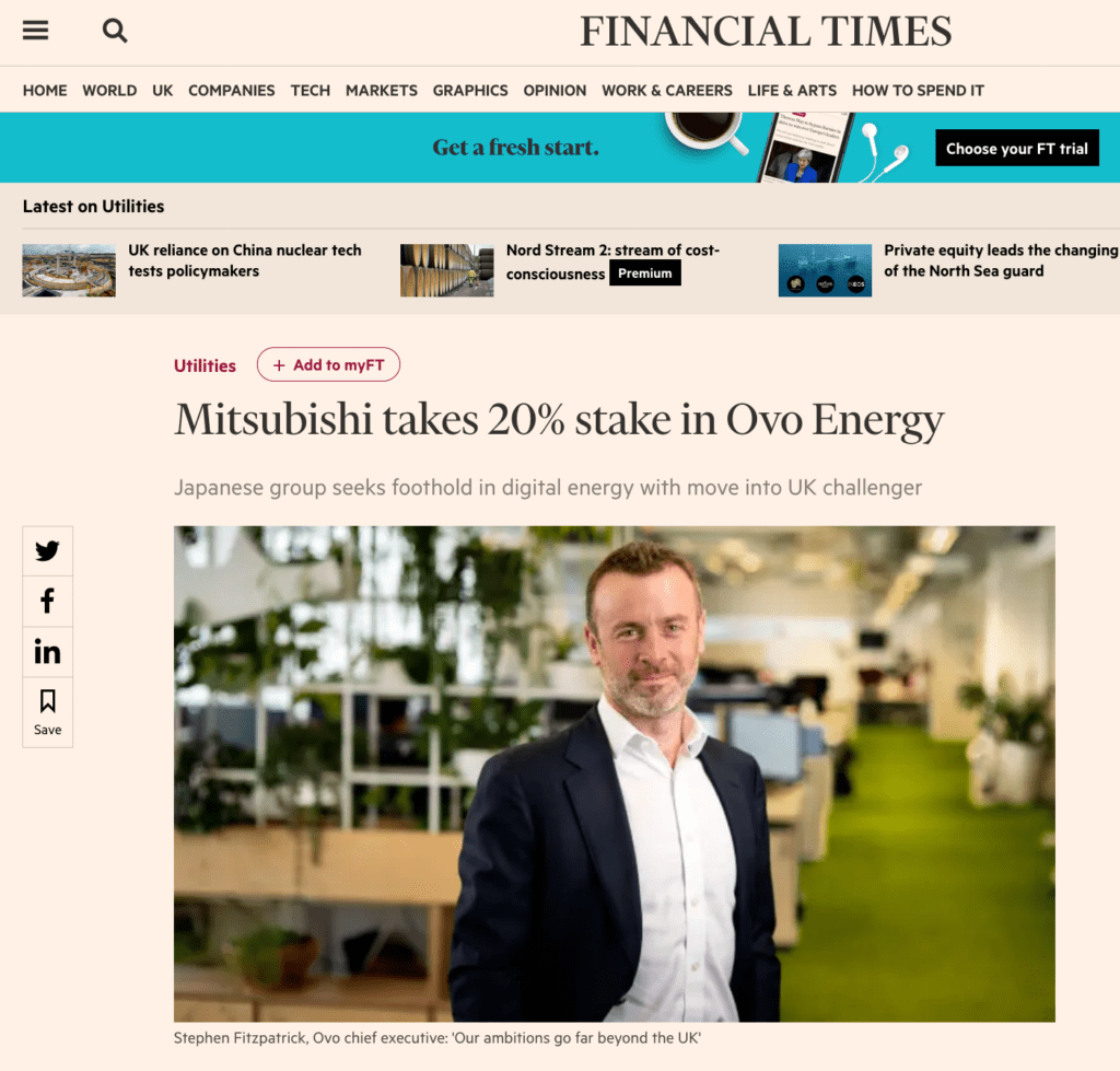 Photograph taken by Piranha of CEO in Financial TImes Newsapaper