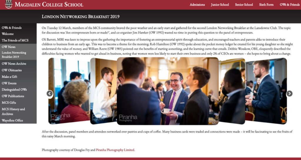 School's website showing network event photography