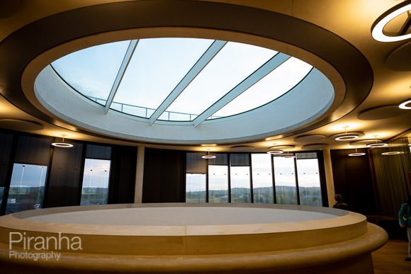Photograph of architectural interior of Blavatnik School of Government during Oxford event