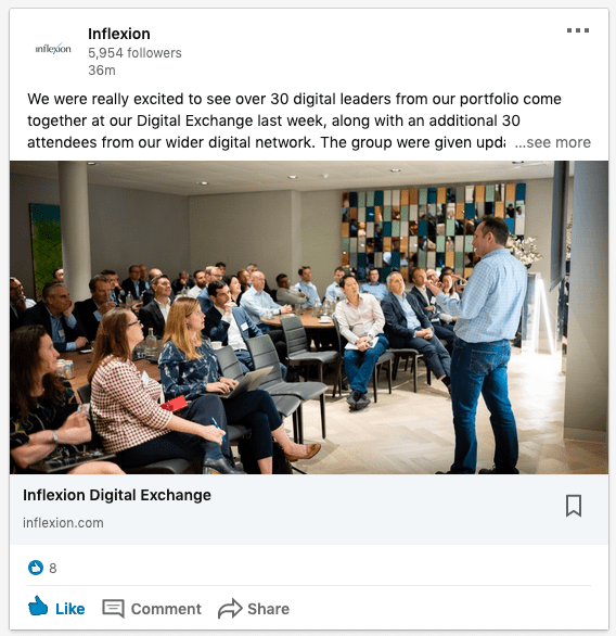 LinkedIn post showing networking event in London