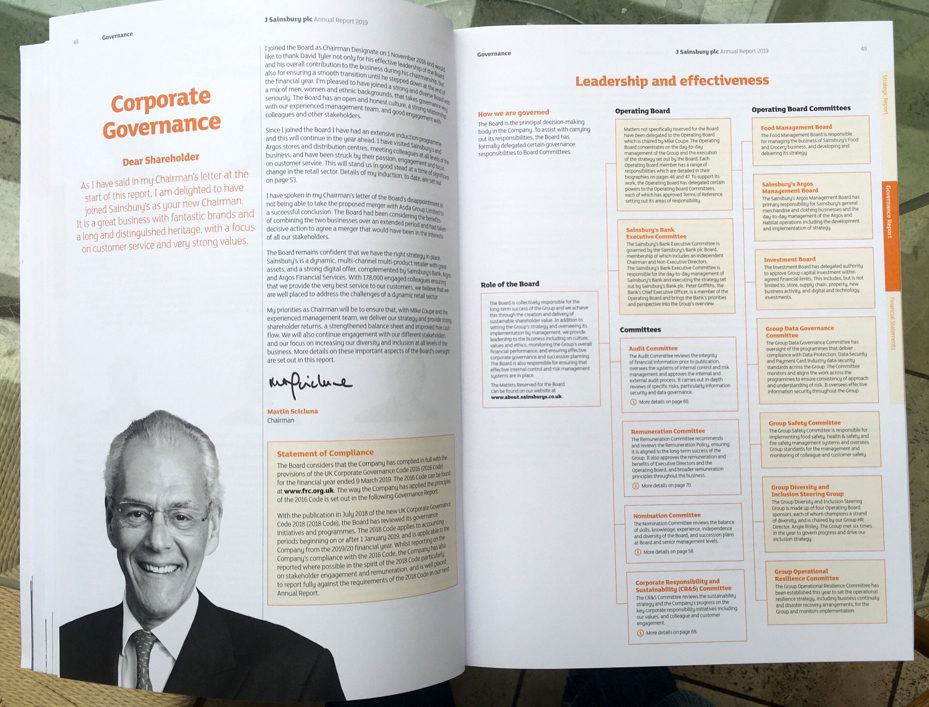 Director's black and white photograph in annual report next to review section