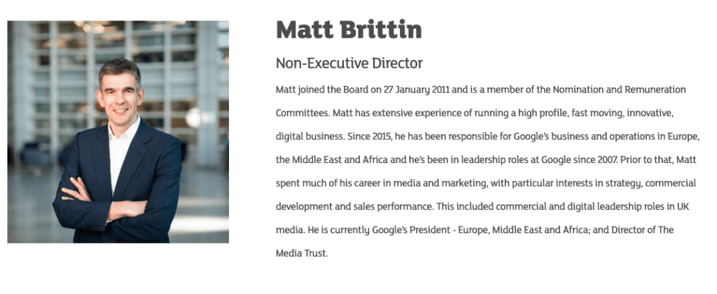 Non-Executive Director's photograph on website