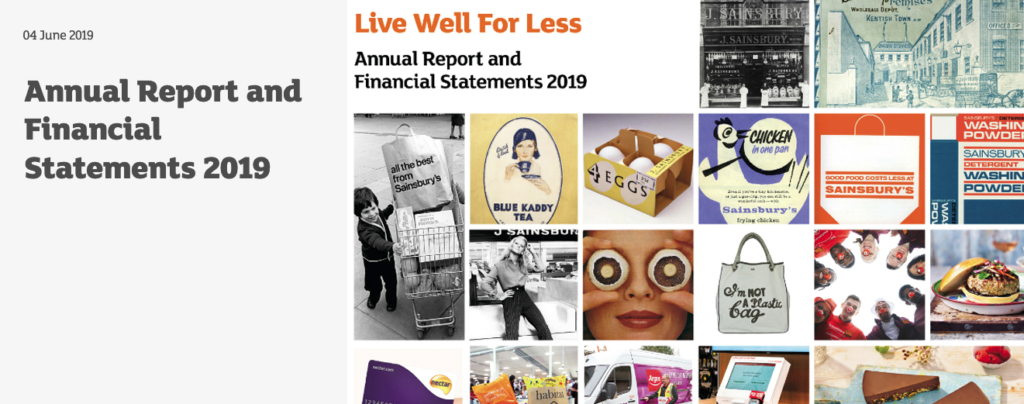 Sainsbury's annual report banner