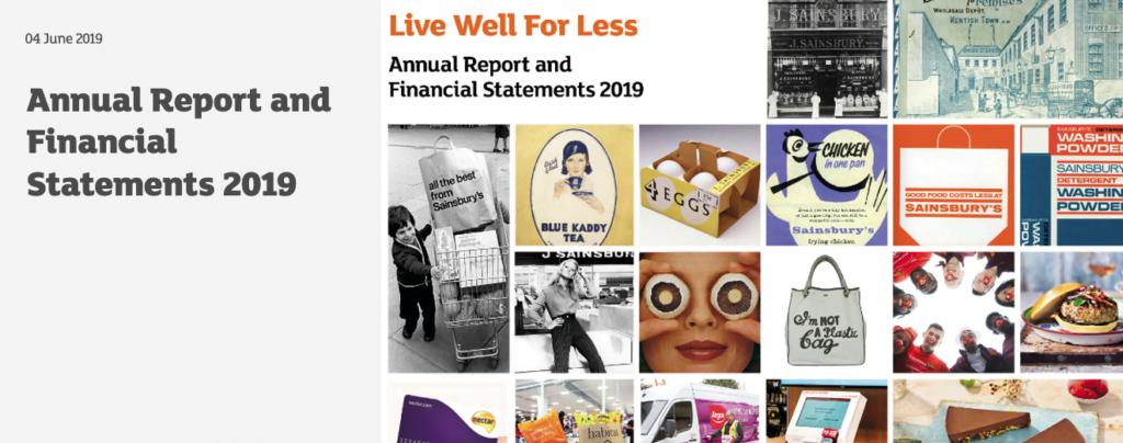 Sainsbury's annual report banner