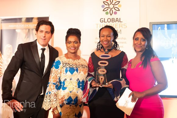 Guests winning award at evening event