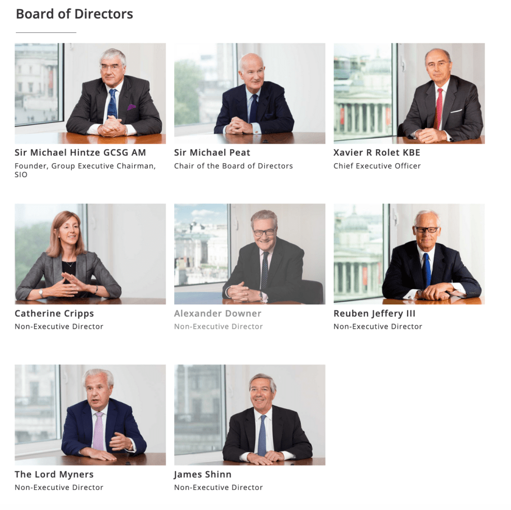 Directors portraits appearing on company website