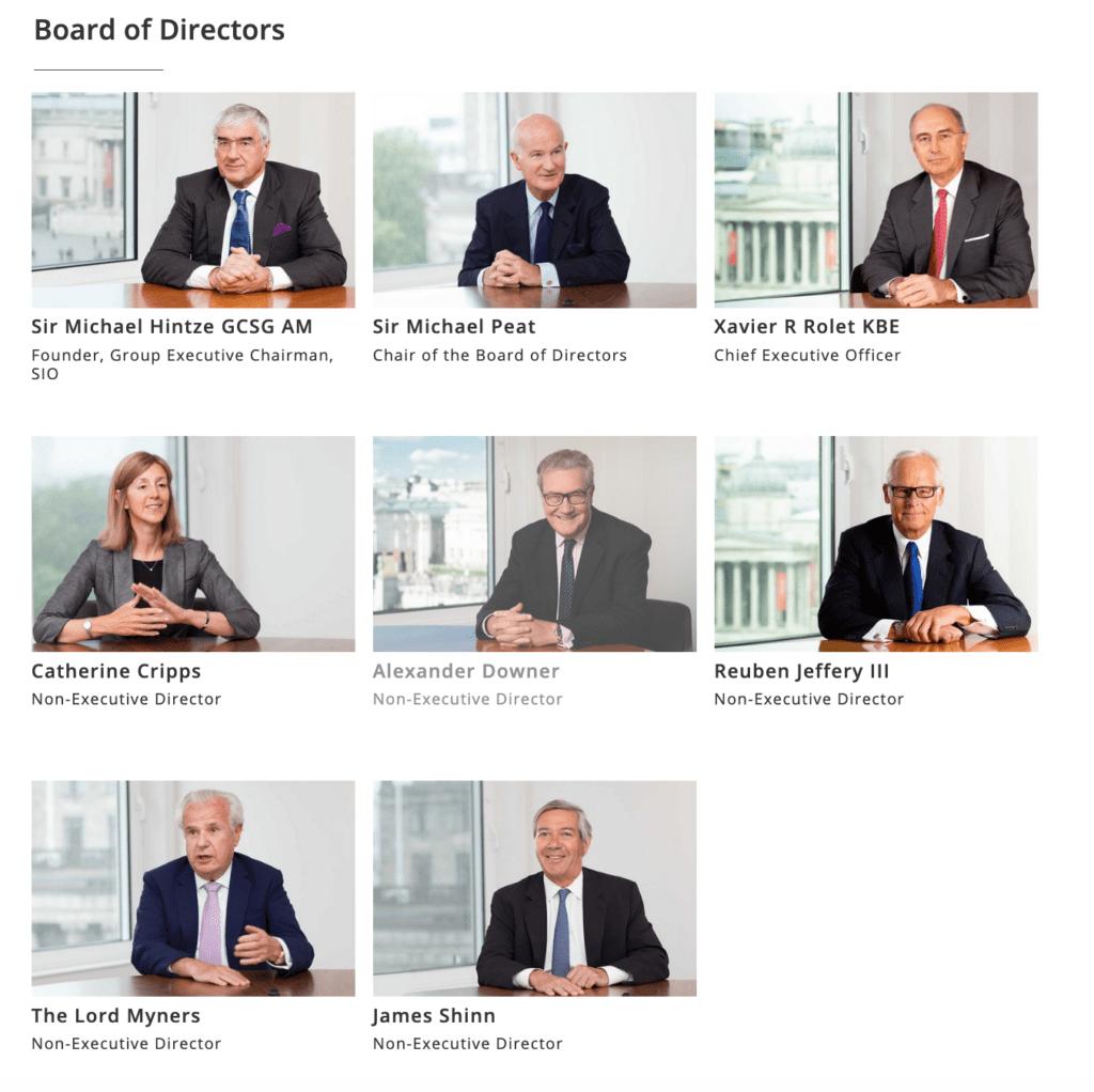 Directors portraits appearing on company website
