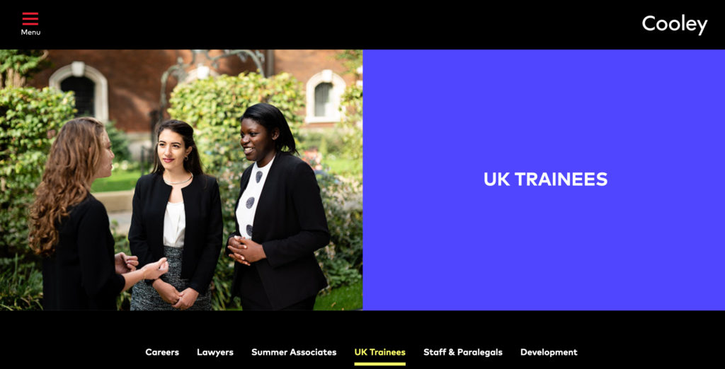 Website page with graduate photograph by Piranha for London law firm