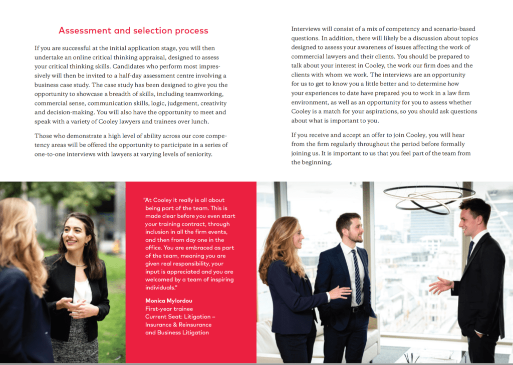 Photographs of graduates at Cooley appearing in brochure