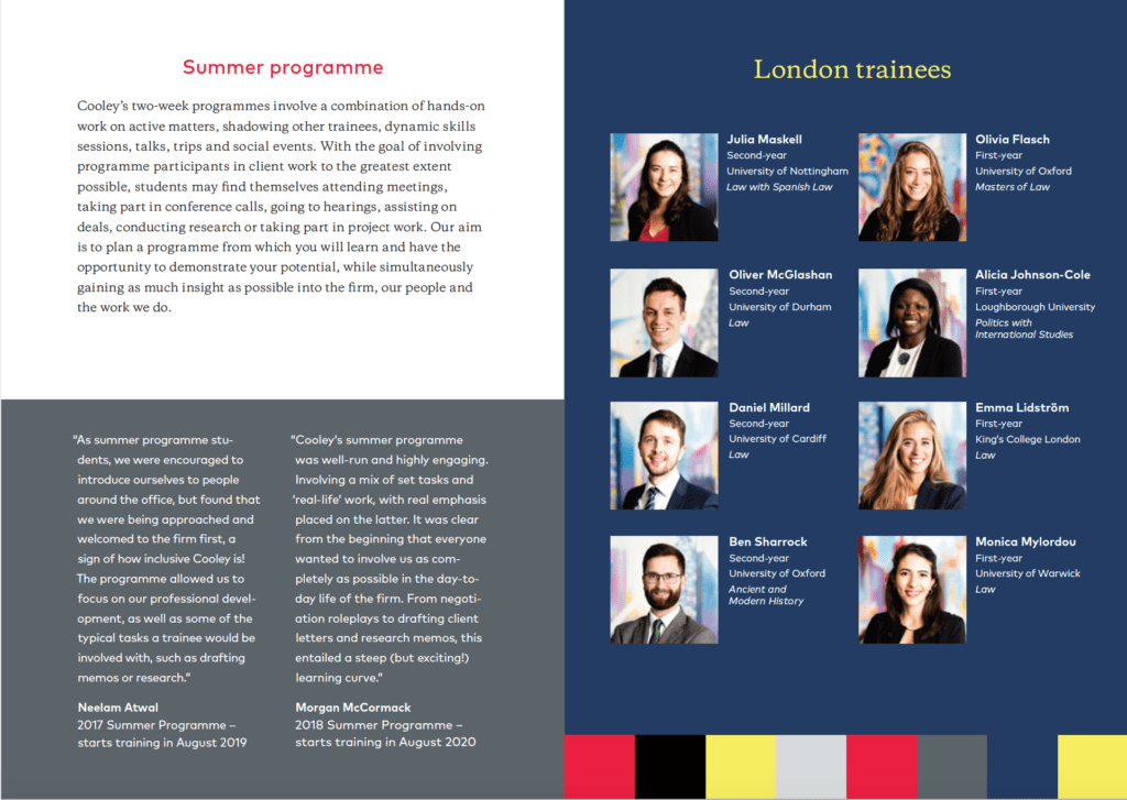 Portraits of London trainees in law firms graduate brochure