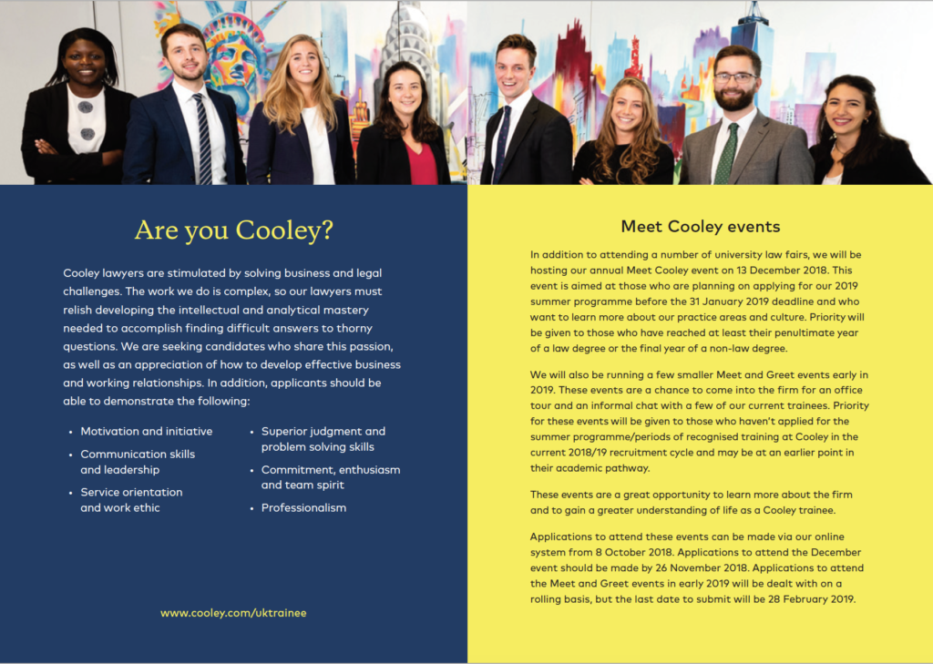 Photograph of various Cooley graduates in printed brochure