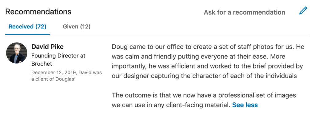 LinkedIn Recommendation from corporate client after team photography