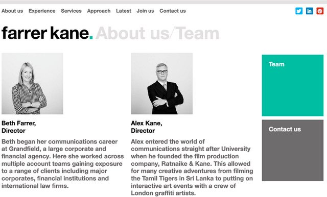 Individual portraits appearing on company website