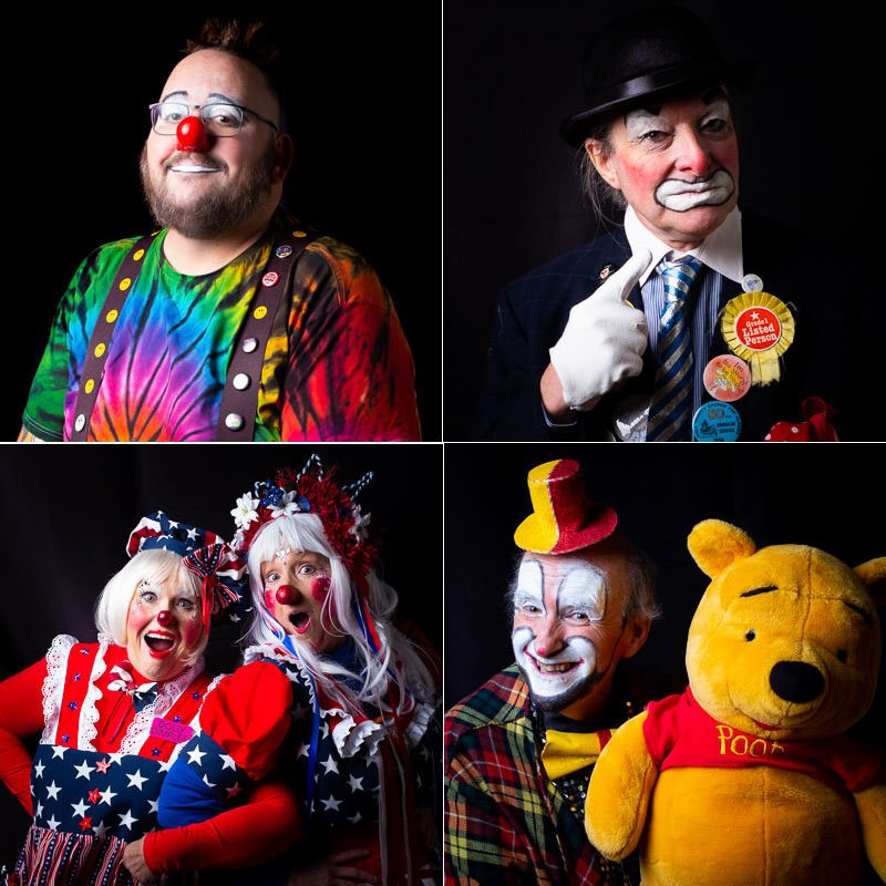 Selection of photographs of clowns
