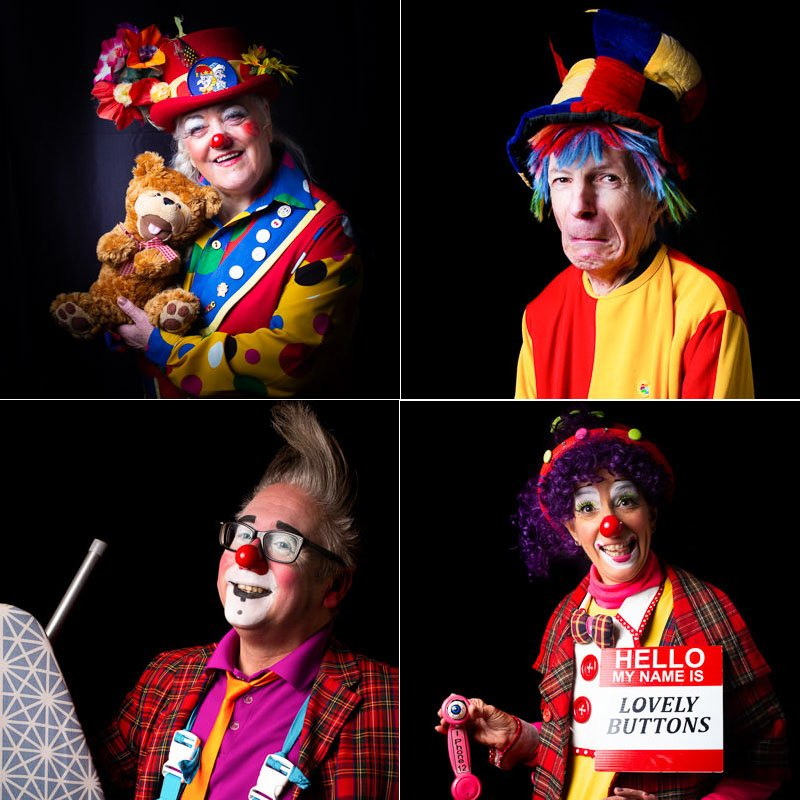 Clowns with different props - group of 4 images
