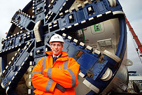 Chief Executive, Kier Construction with crossrail machine